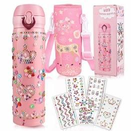 Yojoloin Trinkflasche Kinder,Wasserflasche Basteln 5-10 Jahre,Geschenk für Mädchen Geburtstagsgeschenk Kinder 8-11 Jahre,Einschulung Mädchen,DIY Trinkflasche Edelstahl Auslaufsicher BPA Frei - 1