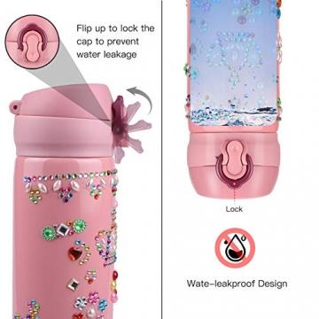 Yojoloin Trinkflasche Kinder,Wasserflasche Basteln 5-10 Jahre,Geschenk für Mädchen Geburtstagsgeschenk Kinder 8-11 Jahre,Einschulung Mädchen,DIY Trinkflasche Edelstahl Auslaufsicher BPA Frei - 4