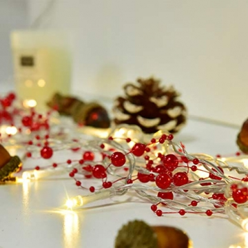 YQing 11Ft LED Perlenband Christbaumkette Perlengirlande DIY Perlenschnur Christbaumkette Perlen Weihnachten Advent Hochzeit Deko Tischdeko,Rot - 4