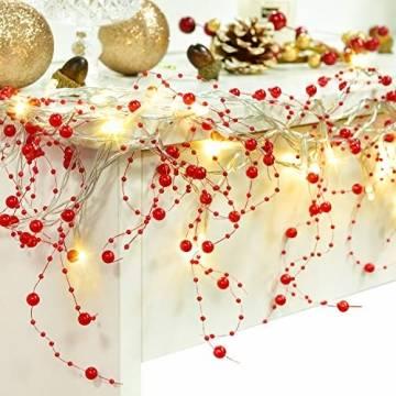 YQing 11Ft LED Perlenband Christbaumkette Perlengirlande DIY Perlenschnur Christbaumkette Perlen Weihnachten Advent Hochzeit Deko Tischdeko,Rot - 1