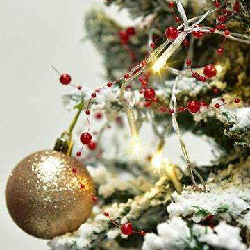 YQing 11Ft LED Perlenband Christbaumkette Perlengirlande DIY Perlenschnur Christbaumkette Perlen Weihnachten Advent Hochzeit Deko Tischdeko,Rot - 6