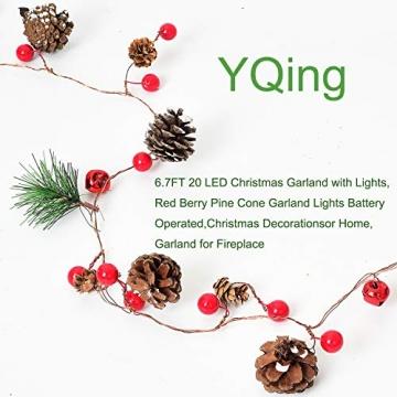 YQing 204cm Weihnachtskiefer Girlande, Weihnachtsgirlande mit LED,Rote Beeren, Kiefernzapfen, Beerengirlande Deko für Kamin-Tür-Winter-Innendekoration im Freien - 2