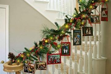 YQing 204cm Weihnachtskiefer Girlande, Weihnachtsgirlande mit LED,Rote Beeren, Kiefernzapfen, Beerengirlande Deko für Kamin-Tür-Winter-Innendekoration im Freien - 3