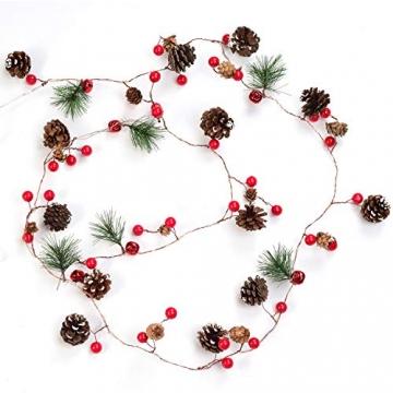 YQing 204cm Weihnachtskiefer Girlande, Weihnachtsgirlande mit LED,Rote Beeren, Kiefernzapfen, Beerengirlande Deko für Kamin-Tür-Winter-Innendekoration im Freien - 7