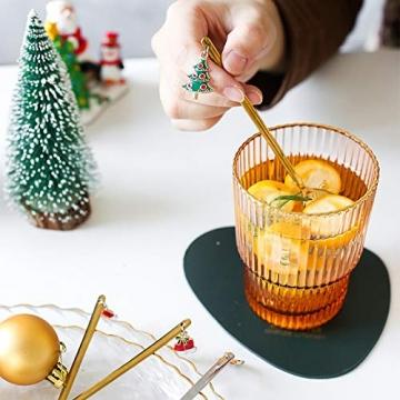 YUANHE 6 Stück Weihnachtslöffel, Weihnachten Edelstahl Löffel Kaffeelöffel Eislöffel Reissuppe Zucker Dessert Vorspeise Gewürz Tavernenlöffel Weihnachtsgeschirr (Silber) - 3