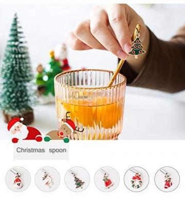 YUANHE 6 Stück Weihnachtslöffel, Weihnachten Edelstahl Löffel Kaffeelöffel Eislöffel Reissuppe Zucker Dessert Vorspeise Gewürz Tavernenlöffel Weihnachtsgeschirr (Silber) - 4