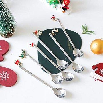 YUANHE 6 Stück Weihnachtslöffel, Weihnachten Edelstahl Löffel Kaffeelöffel Eislöffel Reissuppe Zucker Dessert Vorspeise Gewürz Tavernenlöffel Weihnachtsgeschirr (Silber) - 1
