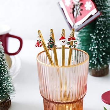 YUANHE 6 Stück Weihnachtslöffel, Weihnachten Edelstahl Löffel Kaffeelöffel Eislöffel Reissuppe Zucker Dessert Vorspeise Gewürz Tavernenlöffel Weihnachtsgeschirr (Silber) - 5