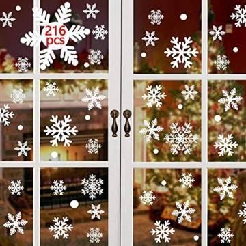 Yuson Girl 108 Stk Schneeflocken Fensterbild Abnehmbare Weihnachten Aufkleber Fenster Weihnachten Deko Wandtattoo Weihnachten Statisch Haftende PVC Aufkleber - 1
