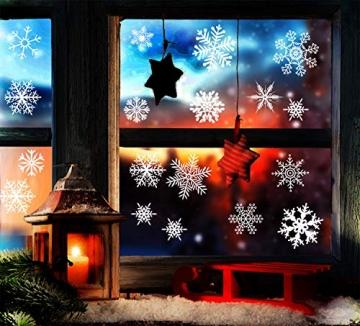 Yuson Girl 108 Stk Schneeflocken Fensterbild Abnehmbare Weihnachten Aufkleber Fenster Weihnachten Deko Wandtattoo Weihnachten Statisch Haftende PVC Aufkleber - 5