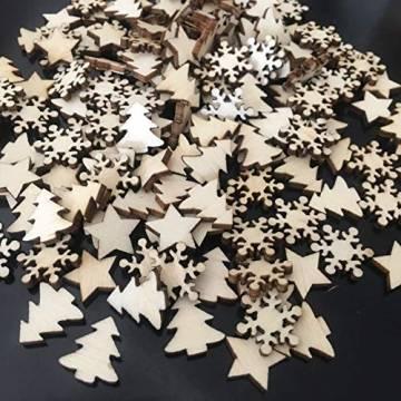 ZesNice Streudeko Weihnachten, 200 Stücke Holzsterne Blank Holz Scheiben Mini Verschönerungen für Handwerk Making DIY - 1
