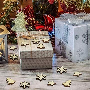 ZesNice Streudeko Weihnachten, 200 Stücke Holzsterne Blank Holz Scheiben Mini Verschönerungen für Handwerk Making DIY - 5