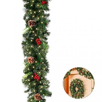 1.8M Tannengirlande Künstlich LED Grüne Weihnachtsgirlande Deko 30LED Weihnachtsgirlande mit Beleuchtung Hängende Girlande Deko für Kamin Treppentür Weihnachten Kamine Treppen Türen Baum Garten Dekor - 2