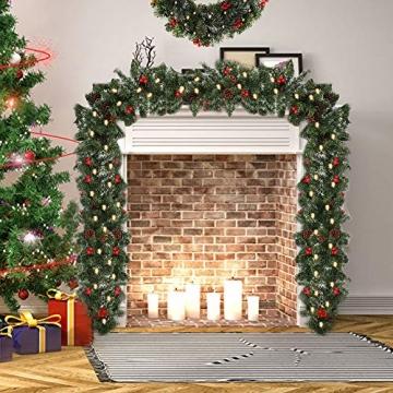 1.8M Tannengirlande Künstlich LED Grüne Weihnachtsgirlande Deko 30LED Weihnachtsgirlande mit Beleuchtung Hängende Girlande Deko für Kamin Treppentür Weihnachten Kamine Treppen Türen Baum Garten Dekor - 5