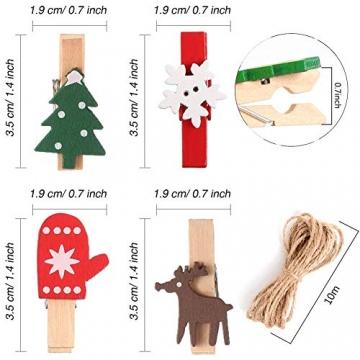 100 Stück Dekoklammern Weihnachten,Klammern Adventskalender,Wäscheklammern Holz Klein Weihnachten,Wäscheklammern aus Holz aus Holz,Weihnachten Klammern Holz Deko Klein,Miniklammern. - 2