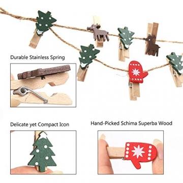 100 Stück Dekoklammern Weihnachten,Klammern Adventskalender,Wäscheklammern Holz Klein Weihnachten,Wäscheklammern aus Holz aus Holz,Weihnachten Klammern Holz Deko Klein,Miniklammern. - 3