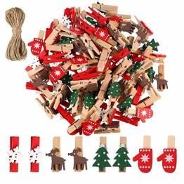 100 Stück Dekoklammern Weihnachten,Klammern Adventskalender,Wäscheklammern Holz Klein Weihnachten,Wäscheklammern aus Holz aus Holz,Weihnachten Klammern Holz Deko Klein,Miniklammern. - 1