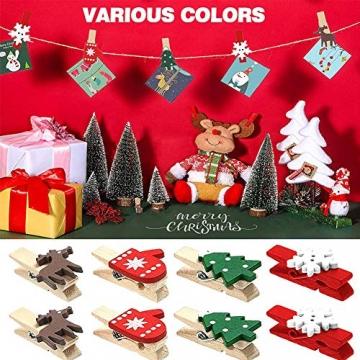 100 Stück Dekoklammern Weihnachten,Klammern Adventskalender,Wäscheklammern Holz Klein Weihnachten,Wäscheklammern aus Holz aus Holz,Weihnachten Klammern Holz Deko Klein,Miniklammern. - 5