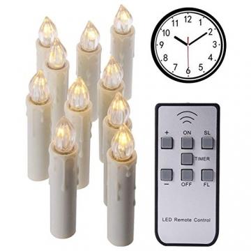 10PCS Weihnachtskerzen LED Kabellos Timer Kerzen mit Fernbedienung, abnehmbare Clips/Suckers / Nadeln und einstellbare Helligkeit, perfekt für Indoor, Glaswände, im Freien und Weihnachtsbäume - 2