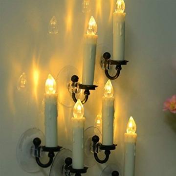 10PCS Weihnachtskerzen LED Kabellos Timer Kerzen mit Fernbedienung, abnehmbare Clips/Suckers / Nadeln und einstellbare Helligkeit, perfekt für Indoor, Glaswände, im Freien und Weihnachtsbäume - 4