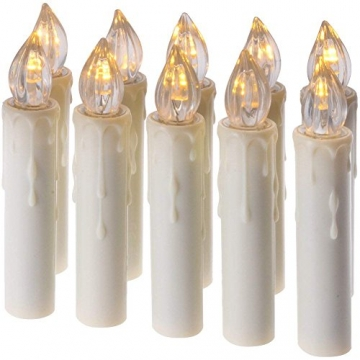 10PCS Weihnachtskerzen LED Kabellos Timer Kerzen mit Fernbedienung, abnehmbare Clips/Suckers / Nadeln und einstellbare Helligkeit, perfekt für Indoor, Glaswände, im Freien und Weihnachtsbäume - 8