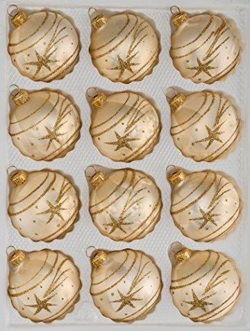 12 TLG. Glas-Weihnachtskugeln Set in Ice Champagner Gold Komet- Christbaumkugeln - Weihnachtsschmuck-Christbaumschmuck - 1
