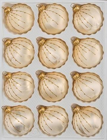 12 TLG. Glas-Weihnachtskugeln Set in Ice Champagner Gold Regen- Christbaumkugeln - Weihnachtsschmuck-Christbaumschmuck - 1