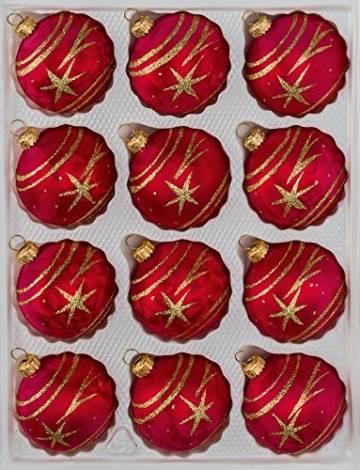 12 TLG. Glas-Weihnachtskugeln Set in Ice Rot Gold Komet - Christbaumkugeln - Weihnachtsschmuck-Christbaumschmuck - 1