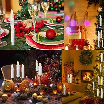 20/30/40/50/60 stk LED Kerzen LED Lichterkette Kabellos Dimmbar Kerzenlichter Flammenlose Weihnachtskerzen für Weihnachtsbaum, Weihnachtsdeko, Hochzeit, Geburtstags, Party (milchweisse Hülle, 40stk) - 2