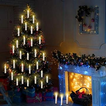 20/30/40/50/60 stk LED Kerzen LED Lichterkette Kabellos Dimmbar Kerzenlichter Flammenlose Weihnachtskerzen für Weihnachtsbaum, Weihnachtsdeko, Hochzeit, Geburtstags, Party (milchweisse Hülle, 40stk) - 3