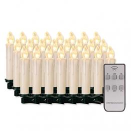 20/30/40/50/60 stk LED Kerzen LED Lichterkette Kabellos Dimmbar Kerzenlichter Flammenlose Weihnachtskerzen für Weihnachtsbaum, Weihnachtsdeko, Hochzeit, Geburtstags, Party (milchweisse Hülle, 40stk) - 1