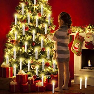20/30/40/50/60 stk LED Kerzen LED Lichterkette Kabellos Dimmbar Kerzenlichter Flammenlose Weihnachtskerzen für Weihnachtsbaum, Weihnachtsdeko, Hochzeit, Geburtstags, Party (milchweisse Hülle, 40stk) - 4