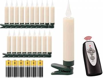 20 LED Weihnachtsbaumkerzen mit simulierter Acryl-Flamme / kabellos / Timer / Flacker-Modus / Weihnachtsbeleuchtung - Weihnachtskerze für Innen - 1
