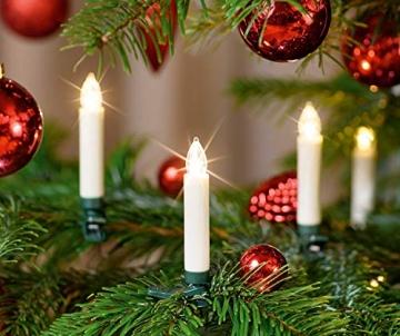 25 kabellose LED Kerzen mit Timerfunktion, Dimmer, flackernde Flamme und Fernbedienung | Innen und Außen | inkl. Batterien | warm-weiß - 3