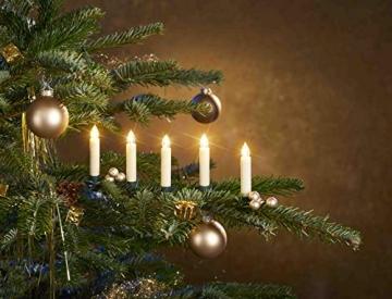 25 kabellose LED Kerzen mit Timerfunktion, Dimmer, flackernde Flamme und Fernbedienung | Innen und Außen | inkl. Batterien | warm-weiß - 6