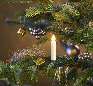 25 kabellose LED Kerzen mit Timerfunktion, Dimmer, flackernde Flamme und Fernbedienung | Innen und Außen | inkl. Batterien | warm-weiß - 7