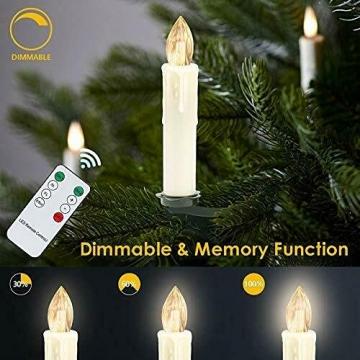 30X LED Weihnachtskerzen mit Fernbedienung Timer Warmweiß Dimmbar Kerzen Weihnachtskerzen Christbaumkerzen Kabellos - 4
