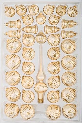 39 TLG. Glas-Weihnachtskugeln Set in Ice Champagner Gold Komet- Christbaumkugeln - Weihnachtsschmuck-Christbaumschmuck - 1