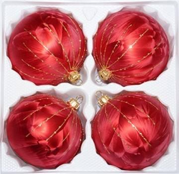 """4 tlg. Glas-Weihnachtskugeln Set 10cm Ø in """"Ice Rot Gold"""" Regen- Christbaumkugeln - Weihnachtsschmuck-Christbaumschmuck 10cm Durchmesser - 1"""