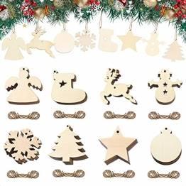 40 Stück Kleine Anhänger Holz Weihnachten, Weihnachtsbaum Anhänger DIY Weihnachtsdekoration Holz Weihnachten Deko Schneeflocke Stern Sock Schneemann Elch Weihnachtsbaum Engel für Weihnachtsbaum - 1