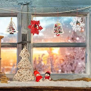 8 Stück Kleine Anhänger Holz Weihnachten,3D WeihnachtsbaumschmuckAnhänger Dekoration Holz,Weihnachtsbaum Deko Holz,Holz Weihnachtsdeko Anhänger,Ornamenten für Weihnachtsbaum,weihnachtsdeko basteln - 4