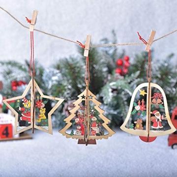 8 Stück Kleine Anhänger Holz Weihnachten,3D WeihnachtsbaumschmuckAnhänger Dekoration Holz,Weihnachtsbaum Deko Holz,Holz Weihnachtsdeko Anhänger,Ornamenten für Weihnachtsbaum,weihnachtsdeko basteln - 6