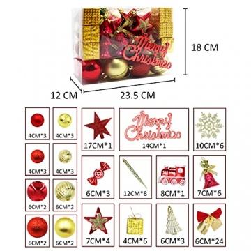83 Stück Christbaumkugeln Set Weihnachtskugeln aus Kunststoff Baumschmuck Weihnachtsbaum Deko & Christbaumschmuck in unterschiedlichen Größen und Designs Golden und Rot - 2