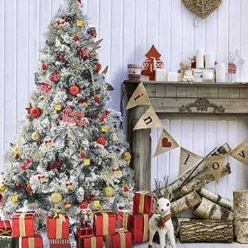 83 Stück Christbaumkugeln Set Weihnachtskugeln aus Kunststoff Baumschmuck Weihnachtsbaum Deko & Christbaumschmuck in unterschiedlichen Größen und Designs Golden und Rot - 3