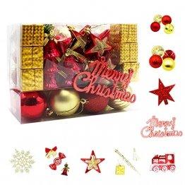 83 Stück Christbaumkugeln Set Weihnachtskugeln aus Kunststoff Baumschmuck Weihnachtsbaum Deko & Christbaumschmuck in unterschiedlichen Größen und Designs Golden und Rot - 1