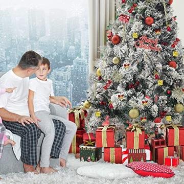 83 Stück Christbaumkugeln Set Weihnachtskugeln aus Kunststoff Baumschmuck Weihnachtsbaum Deko & Christbaumschmuck in unterschiedlichen Größen und Designs Golden und Rot - 4