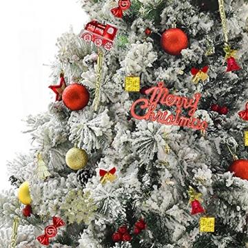 83 Stück Christbaumkugeln Set Weihnachtskugeln aus Kunststoff Baumschmuck Weihnachtsbaum Deko & Christbaumschmuck in unterschiedlichen Größen und Designs Golden und Rot - 6