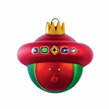 Alessi AMJ13 10- Baldassarre Heilig König Balthazar Weihnachtskugel, Handdekoriertes Geblasenes Glas, Rot - 1