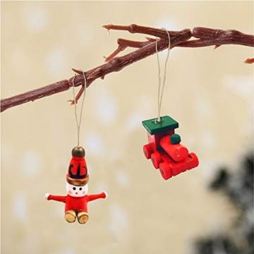 Anyingkai 30pcs Holzanhänger Weihnachten,Weihnachtsverzierungen Aus Holz,Holzanhänger Weihnachten Rot,Weihnachten Anhänger Holzanhänger,Weihnachtsbaum Deko Holz - 4