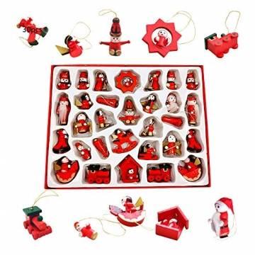 Anyingkai 30pcs Holzanhänger Weihnachten,Weihnachtsverzierungen Aus Holz,Holzanhänger Weihnachten Rot,Weihnachten Anhänger Holzanhänger,Weihnachtsbaum Deko Holz - 1